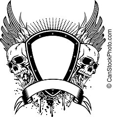 skull board and wings - Vector illustration board wings and...