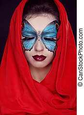 Fashion Make up Butterfly makeup on face beautiful woman Art...
