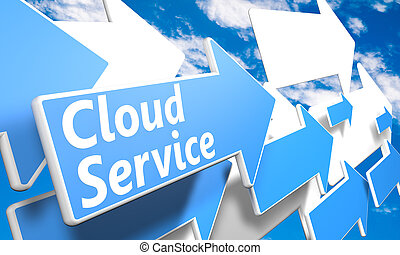 Cloud Service 3d render concept with blue and white arrows...