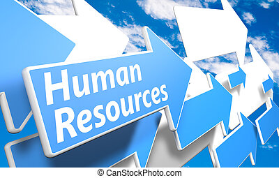 Human Resources 3d render concept with blue and white arrows...