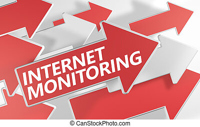 Internet Monitoring 3d render concept with red and white...