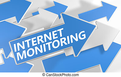 Internet Monitoring 3d render concept with blue and white...