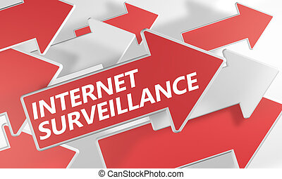 Internet surveillance 3d render concept with red and white...