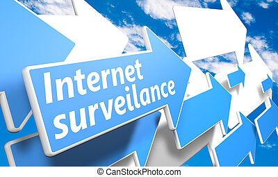 Internet surveillance 3d render concept with blue and white...