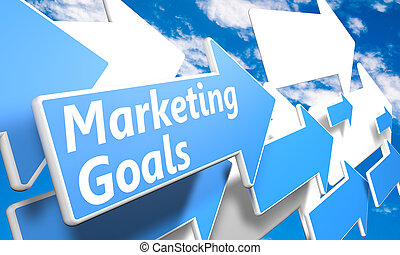 Marketing Goals 3d render concept with blue and white arrows...