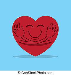 Heart Hug - Large cartoon heart hugging itself