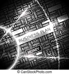 BUSINESS PLAN. Background concept wordcloud illustration....