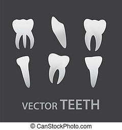vector teeth icons eps10
