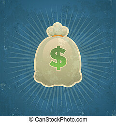 Retro Bag of Money - Retro grunge illustration of bag of...