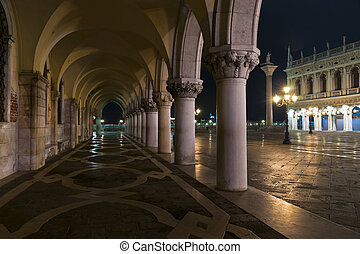 Doges Palace arcade at night - Doges Palace arcade with...