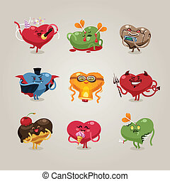 Valentines hearts icons set - Symbols of Valentine's Day. In...
