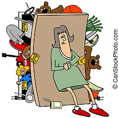 Woman with a full closet - This illustration depicts a woman...