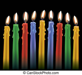 Nine Colorful Candles isolated on black AI10 eps has radial...
