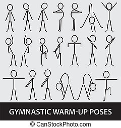 gymnastic warm-up poses eps10