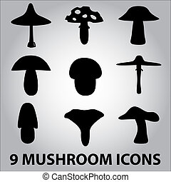 black symbols of mushroom types eps10