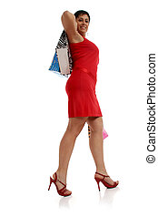 Happy shopping woman - Full body view of young attractive...