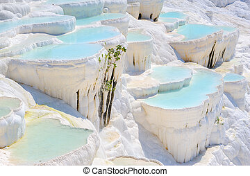 Blue water travertine pools at Pamukkale, Turkey - Blue cyan...