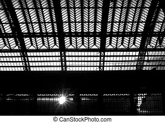 Roof structure - The photograph of a roof structure, which...