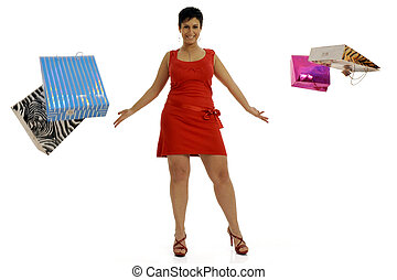 Shopping delight - Full body view of young attractive woman...