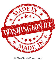 made in Washington DC red round grunge isolated stamp