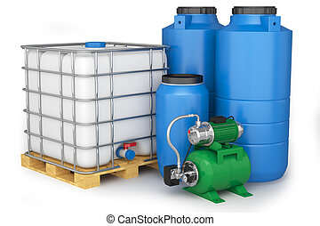 Water tanks and pumping station - Group of plastic water...