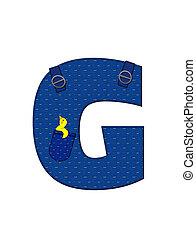 Alphabet Farmer Brown G - The letter G, in the alphabet set...