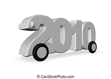 year 2010 - the year 2010 on wheels on white background - 3d...