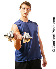 Bicep curl - Photo of a man in his early thirties doing...