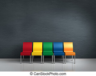 colorful chairs - a row of colorful chairs with copy space...