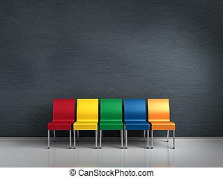 colorido, sillas