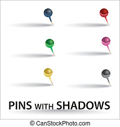 color pins with shadow eps10