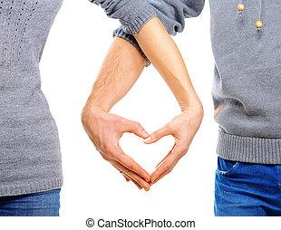 valentinbrev, par, kärlek, visande, hjärta, deras,...