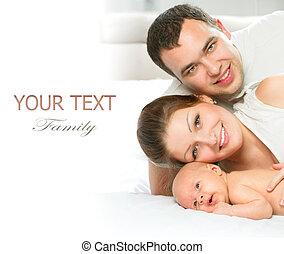 Feliz, família, pai, mãe, seu, recem nascido,...