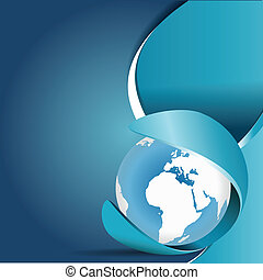 Blue abstract vector background with globe and place for...