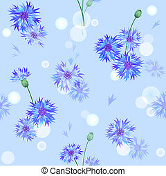 Vector seamless background with bluebottles - Vector blue...
