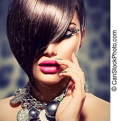 Fringe Beauty Sexy Model Girl with Perfect Makeup and...