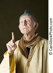 Wise Man - Portrait of wise guru with knit cap