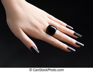 Manicured Nail with Black Matte Nail Polish. Fashion...