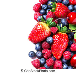 Berries border isolated on White. Spring Organic Berry