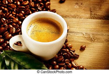 café, hoja, taza,  espresso, frijoles, verde