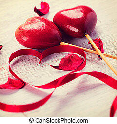 Valentine Heart. Red Satin Gift Ribbon and Red Hearts