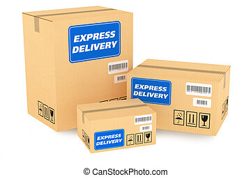 Delivery packages isolated on white background