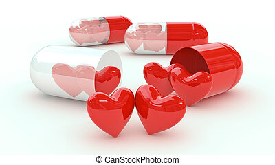 Pill filled with hearts - Design made in 3D