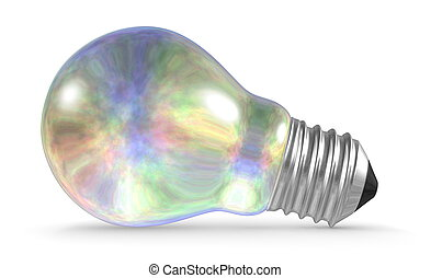 Pearl light bulb lying isolated on white background