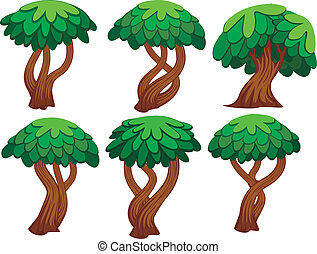 cartoon tree set - six kind of vector illustration of...