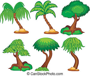 set of cartoon trees - six kind of vector illustration of...