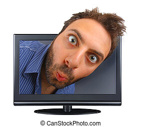 Young boy with a surprised expression in the tv