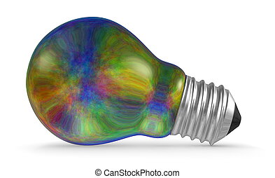 Multicolored iridescent light bulb lying isolated on white...
