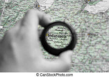 Map of Indianapolis - Selective focus on antique map of...