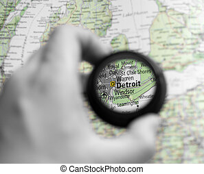 Map of Detroit - Selective focus on antique map of Detroit
